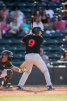 Drew Turbin (9) of the Delmarva Shorebirds at bat against the Hickory Crawdads at L.P. Frans Stadium on June 18, 2016 in Hickory, North Carolina.  The Crawdads defeated the Shorebirds 1-0 in game one of a double-header.  (Brian Westerholt/Four Seam Images)
