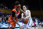 08 January 2015: Duke's Mercedes Riggs (right) steals the ball from Syracuse's Bria Day (left). The Duke University Blue Devils hosted the Syracuse University Orange at Cameron Indoor Stadium in Durham, North Carolina in a 2014-15 NCAA Division I Women's Basketball game. Duke won the game 74-72.
