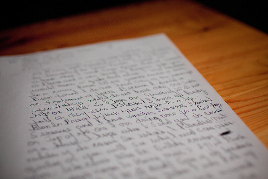 Detail of a copy of the letter written by Thomas McGowan who was exonerated with the help of The Innoncence Project.