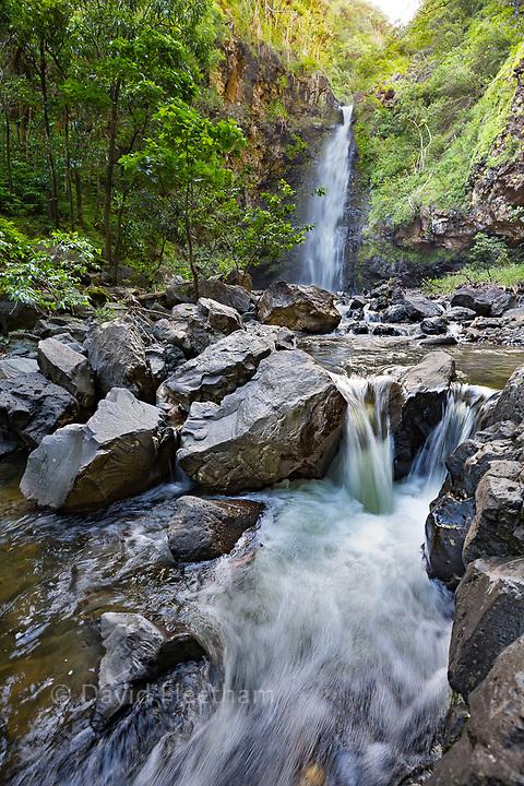 This is one of the many roadside waterfalls on the road to Hana, Kipahulu, Maui, Hawaii.