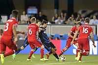 San Jose, CA - Wednesday September 27, 2017: Dax McCarty, Chris Wondolowski during a Major League Soccer (MLS) match between the San Jose Earthquakes and the Chicago Fire at Avaya Stadium.