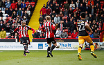 Leon Clarke of Sheffield Utd scores his second goal during the English League One match at Bramall Lane Stadium, Sheffield. Picture date: April 17th 2017. Pic credit should read: Simon Bellis/Sportimage