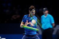 Rafael Nadal of Spain (1) in action against David Goffin of Belgium (7) during their Pete Sampras group match<br /> <br /> Photographer Craig Mercer/CameraSport<br /> <br /> International Tennis - Nitto ATP World Tour Finals - O2 Arena - London - Day 2  - Monday 13th November 2017<br /> <br /> World Copyright &copy; 2017 CameraSport. All rights reserved. 43 Linden Ave. Countesthorpe. Leicester. England. LE8 5PG - Tel: +44 (0) 116 277 4147 - admin@camerasport.com - www.camerasport.com