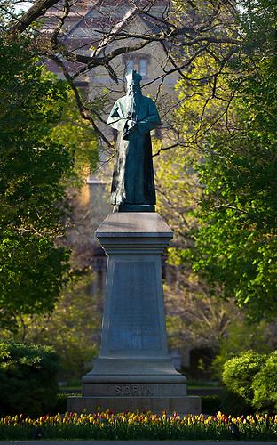 April 11, 2012; Sorin Monument. Photo by Barbara Johnston/University of Notre Dame