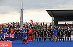 National Anthem during the Pro League Hockey match between the Blacksticks men and the Argentina, Nga Punawai, Christchurch, New Zealand, Friday 28 February 2020. Photo: Simon Watts/www.bwmedia.co.nz
