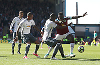 Burnley Dan Agyei is tackled by Manchester United's Eric Bailly<br /> <br /> Photographer Rachel Holborn/CameraSport<br /> <br /> The Premier League - Burnley v Manchester United - Sunday 23rd April 2017 - Turf Moor - Burnley<br /> <br /> World Copyright &copy; 2017 CameraSport. All rights reserved. 43 Linden Ave. Countesthorpe. Leicester. England. LE8 5PG - Tel: +44 (0) 116 277 4147 - admin@camerasport.com - www.camerasport.com