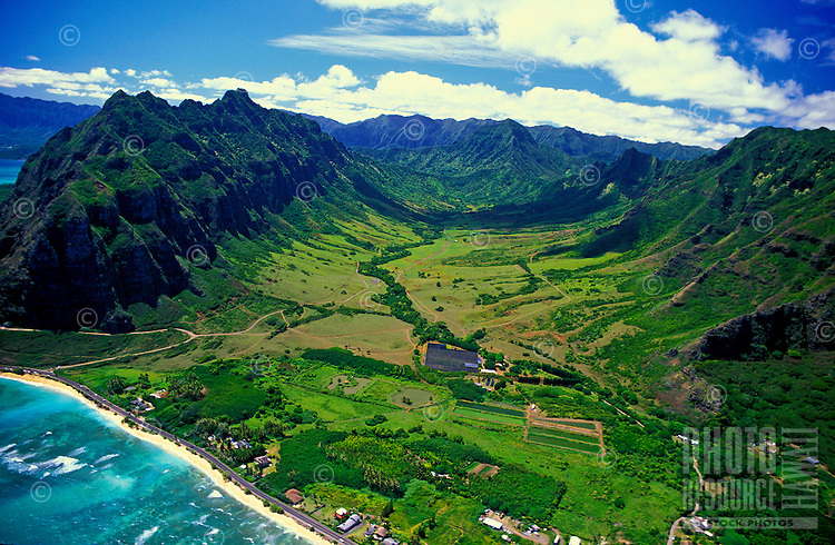 Aerial view of Haloa Ridge and Kaaawa Valley along Oahu's eastern coastline. Kualoa Ranch surrounds this ridge and the Kaaawa valley is a popular location for many outdoor adventure activities and is also known for being a location for many hollywoo