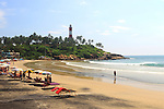 Hammock and umbrellas ready for tourist at Light Hiouse Beach. Kovalam, Kerala
