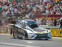 Sep 3, 2018; Clermont, IN, USA; NHRA funny car driver Shawn Langdon during the US Nationals at Lucas Oil Raceway. Mandatory Credit: Mark J. Rebilas-USA TODAY Sports