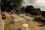 An outdoor patio bathed in sunlight provides a beautiful setting for wedding ceremonies at The Tarrytown House, in the Hudson Valley.