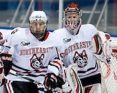 Jake Newton (NU - 5), Chris Rawlings (NU - 37) - The Northeastern University Huskies defeated the Boston College Eagles 3-2 on Friday, February 19, 2010, at Matthews Arena in Boston, Massachusetts.