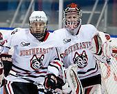 Jake Newton (NU - 5), Chris Rawlings (NU - 37) - The Northeastern University Huskies defeated the Boston College Eagles 3-2 on Friday, February 19, 2010, at Matthews Arena in Boston, Massachusetts.