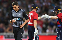 Trent Boutlt returns to the bowling crease as England captain Eoin Morgan hits a 6. New Zealand Black Caps v England.Tri-Series International Twenty20 cricket. Eden Park, Auckland, New Zealand. Sunday 18 February 2018. © Copyright Photo: Andrew Cornaga / www.Photosport.nz