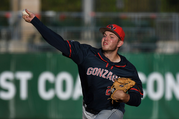 May 27, 2017; Stockton, CA, USA; Gonzaga Bulldogs pitcher Sam Hellinger during the WCC Baseball Championship at Banner Island Ballpark.