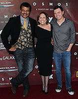 "LOS ANGELES, CA, USA - MARCH 04: Neil deGrasse Tyson, Ann Druyan, Seth MacFarlane at the Premiere Of FOX's ""Cosmos: A SpaceTime Odyssey"" held at The Greek Theatre on March 4, 2014 in Los Angeles, California, United States. (Photo by Xavier Collin/Celebrity Monitor)"