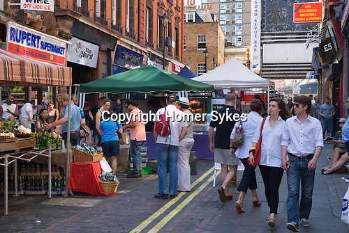 Farmers Market. Rupert Street Soho. London Uk.