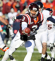 Nov 27, 2010; Charlottesville, VA, USA;  Virginia Tech Hokies quarterback Logan Thomas (3) during the game at Lane Stadium. Virginia Tech won 37-7. Mandatory Credit: Andrew Shurtleff-