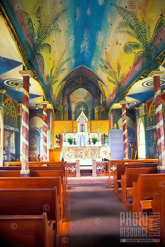 St. Benedict's Painted Church, a historical tourist site near Kealakekua, on the Big island of Hawaii