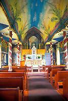 St. Benedict's Painted Church, a historical tourist site near Kealakekua, on the Big island of Hawaii