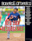 Baseball America May 14, 2013 Issue featuring an image of Boston Red Sox shortstop Xander Bogaerts (72) during a Spring Training game against the Philadelphia Phillies at Bright House Field on March 24, 2013 in Clearwater, Florida.  (Mike Janes Photography)