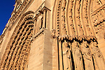 Saints statues decorated the Portal of St-Anne of Notre Dame cathedral. city of Paris. Paris. France