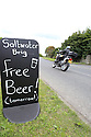 TRAVEL PIECE TO GO WITH GLENN PATTERSON COUNTY DOWN - Funny signs mark the Saltwater Brig pub on the way to Portaferry,  where you can get some Irish Ban Poitin.  Photo/Paul McErlane