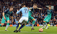 Tottenham Hotspur's Kieran Trippier holds off the challenge from Manchester City's David Silva <br /> <br /> Photographer Rich Linley/CameraSport<br /> <br /> UEFA Champions League - Quarter-finals 2nd Leg - Manchester City v Tottenham Hotspur - Wednesday April 17th 2019 - The Etihad - Manchester<br />  <br /> World Copyright © 2018 CameraSport. All rights reserved. 43 Linden Ave. Countesthorpe. Leicester. England. LE8 5PG - Tel: +44 (0) 116 277 4147 - admin@camerasport.com - www.camerasport.com