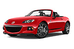 Stock pictures of low aggressive front three quarter view of a 2015 Mazda MX-5 Miata Club Auto 2 Door Convertible Low Aggressive