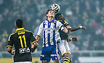 Solna 2014-03-31 Fotboll Allsvenskan AIK - IFK G&ouml;teborg :  <br /> G&ouml;teborgs Philip Haglund i kamp om bollen med AIK:s Ibrahim Moro<br /> (Foto: Kenta J&ouml;nsson) Nyckelord:  AIK Gnaget Solna IFK G&ouml;teborg Bl&aring;vitt