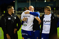 Elliott Stooke and Matt Garvey of Bath Rugby hug after the match. Pre-season friendly match, between Edinburgh Rugby and Bath Rugby on August 17, 2018 at Meggetland Sports Complex in Edinburgh, Scotland. Photo by: Patrick Khachfe / Onside Images