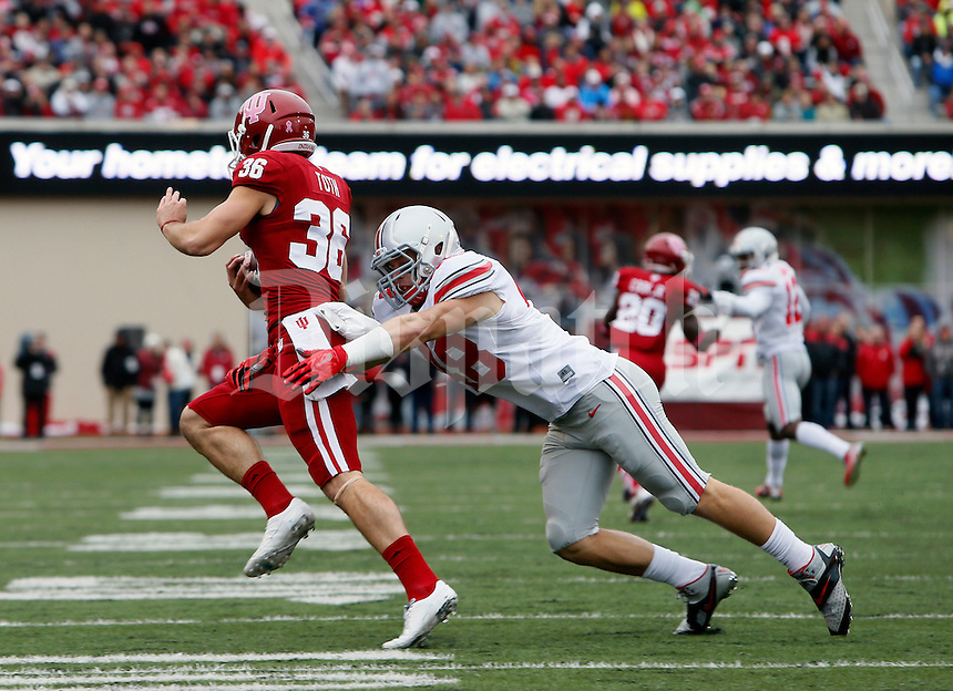 Ohio State Buckeyes linebacker Joe Burger (48) the Indiana Hoosiers at Memorial Stadium in Bloomington Indiana Oct. 3, 2015.(Dispatch photo by Eric Albrecht)