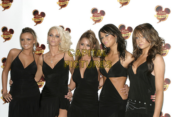 NADINE COYLE, SARAH HARDING,CHERYL TWEEDY, KIMBERLEY WALSH & NICOLE ROBERTS (GIRLS ALOUD).Disney Kids Awards 2004, Royal Albert Hall, London, September 16th 2004..half length little black dress tanned.Ref: AH.www.capitalpictures.com.sales@capitalpictures.com.©Capital Pictures....