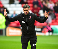 Lincoln City's assistant manager Nicky Cowley during the pre-match warm-up<br /> <br /> Photographer Andrew Vaughan/CameraSport<br /> <br /> The EFL Sky Bet League Two - Lincoln City v Crewe Alexandra - Saturday 6th October 2018 - Sincil Bank - Lincoln<br /> <br /> World Copyright &copy; 2018 CameraSport. All rights reserved. 43 Linden Ave. Countesthorpe. Leicester. England. LE8 5PG - Tel: +44 (0) 116 277 4147 - admin@camerasport.com - www.camerasport.com