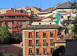 Rooftops of buildings in La Latina barrio, Madrid city centre, Spain