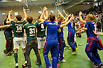 GER - Luebeck, Germany, February 07: Players of HTC Uhlenhorst Muehlheim and Mannheimer HC celebrate after winning the Deutsche Meisterschaft before the prize giving ceremony at the Final 4 on February 7, 2016 at Hansehalle Luebeck in Luebeck, Germany. (Photo by Dirk Markgraf / www.265-images.com) *** Local caption ***