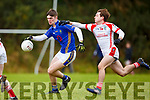 8 Tralee CBS team is tackled by Cillian Falvey ?? PS Chorca Dhuibhne in Killarney on Wednesday