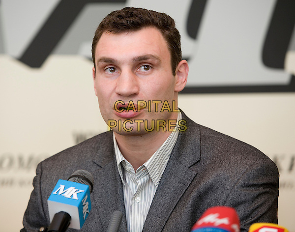 Vitali Klitschko.Press conference in the newspaper the Moscow member of the Komsomol, Russia..March 15th, 2007.headshot portrait grey gray suit jacket  .CAP/PER/AM.©AM/PersonaStars/CapitalPictures