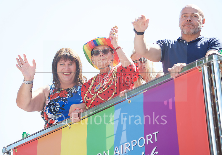 Brighton Pride 2017 <br /> Brighton Seafront and through the town towards Preston Park. <br /> East Sussex, Great Britain <br /> 5th August 2017 <br /> <br /> Brighton Pride <br /> <br /> Sophie Cook <br /> Labour candidate in Shoreham <br /> <br /> <br /> Photograph by Elliott Franks <br /> Image licensed to Elliott Franks Photography Services
