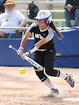 Western Nevada's Melanie Mecham hits against Southern Idaho at Edmonds Sports Complex in Carson City, Nev., on Friday, April 8, 2016. <br />