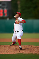 Florida Fire Frogs relief pitcher Junior Rincon (34) delivers a pitch during a game against the St. Lucie Mets on July 23, 2017 at Osceola County Stadium in Kissimmee, Florida.  St. Lucie defeated Florida 3-2.  (Mike Janes/Four Seam Images)