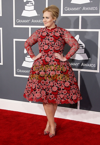 Adele (Adele Laurie Blue Adkins).The 55th Annual GRAMMY Awards held at STAPLES Center, Los Angeles, California, USA..February 10th, 2013.grammys full length red black pink floral print dress hands on hips.CAP/ADM.©AdMedia/Capital Pictures.