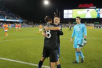 San Jose, CA - Saturday September 16, 2017: Chris Wondolowski, Shea Salinas after a Major League Soccer (MLS) match between the San Jose Earthquakes and the Houston Dynamo at Avaya Stadium.