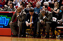 12 February 2011: The Oklahoma State Cowboys coaching staff react to Nebraska Cornhuskers make a shot during the second half at the Devaney Sports Center in Lincoln, Nebraska. Nebraska defeated Oklahoma State 65 to 54.
