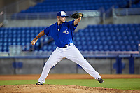 Dunedin Blue Jays relief pitcher Jackson McClelland (52) delivers a pitch during a game against the Bradenton Marauders on July 17, 2017 at Florida Auto Exchange Stadium in Dunedin, Florida.  Bradenton defeated Dunedin 7-5.  (Mike Janes/Four Seam Images)