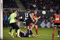 Kansas City, Kansas - Saturday April 16, 2016: FC Kansas City defender Brittany Taylor (13) clears the ball against Western New York Flash at Children's Mercy Park. Western New York won 1-0.