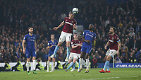 West Ham United's Fabian Balbuena clears<br /> <br /> Photographer Rob Newell/CameraSport<br /> <br /> The Premier League - Chelsea v West Ham United - Monday 8th April 2019 - Stamford Bridge - London<br /> <br /> World Copyright &copy; 2019 CameraSport. All rights reserved. 43 Linden Ave. Countesthorpe. Leicester. England. LE8 5PG - Tel: +44 (0) 116 277 4147 - admin@camerasport.com - www.camerasport.com