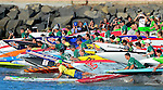 DANA POINT, CA- September 28:  A General view of athletes competing the 2013 Battle of the Paddle Elite Race at Doheny State Beach on September 28, 2013 in Dana Point, California. (Photo by Donald Miralle *** Local Caption ***