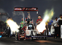 Jun. 29, 2012; Joliet, IL, USA: NHRA top fuel dragster driver Rit Pustari during qualifying for the Route 66 Nationals at Route 66 Raceway. Mandatory Credit: Mark J. Rebilas-