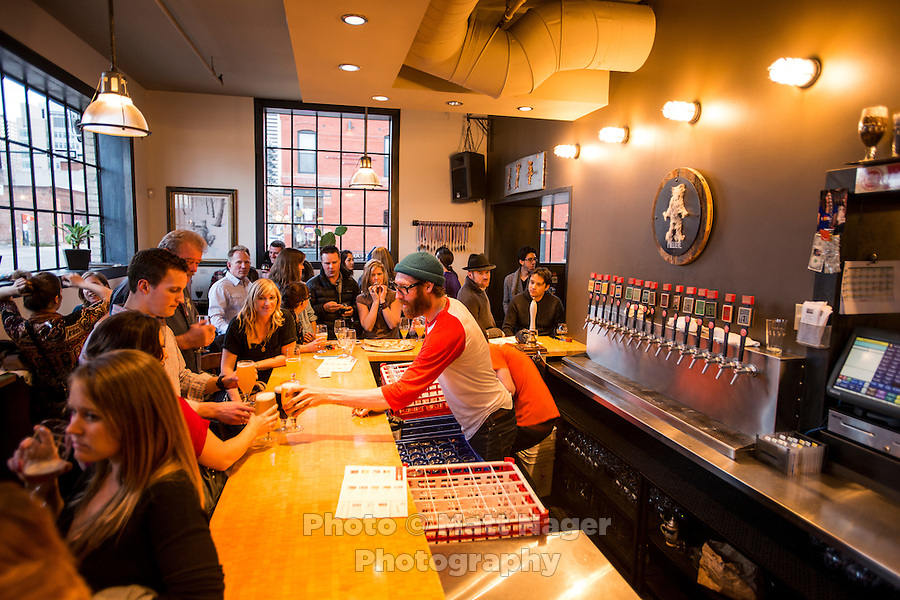 The tap room at the Great Divide Brewery in Denver, Colorado, Friday, April 12, 2013. <br /> <br /> Photo by Matt Nager