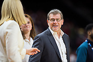 College Park, MD - DEC 29, 2016: Connecticut Huskies head coach Geno Auriemma talks with Maryland Terrapins head coach Brenda Frese before the game between No. 1 UConn and the No. 3 Terrapins at the XFINITY Center in College Park, MD. UConn defeated Maryland 87-81. (Photo by Phil Peters/Media Images International)